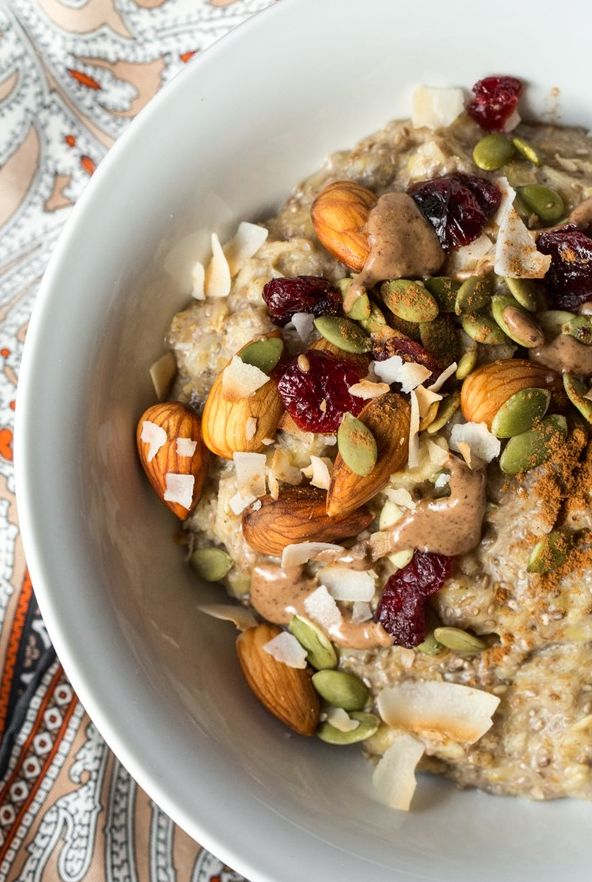veganfoody:  5-Minute Oatmeal Power Bowl Vegan, gluten-free, oil-free, refined sugar-free, soy-free.