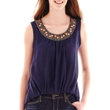 by&by Sleeve Bubble Hem Necklace Trim Chiffon Top - JCPenney