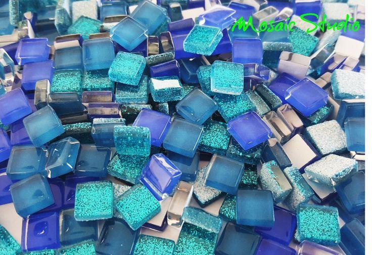 Mini Crystal Tiles 10x10mm - Blues mix 400pc by MosaicStudio1 on Etsy