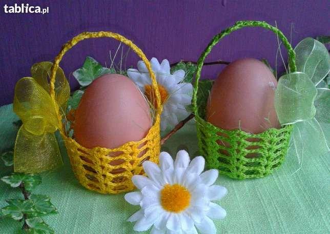 koszyczki szydełkowe na jajka lub słodycze kurki, koszulki, rękodzieło Kutno - image 2