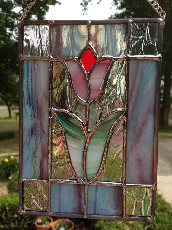 Contemporary Stained Glass Panel  Spring Tulip by PeaceLuvGlass, $42.00