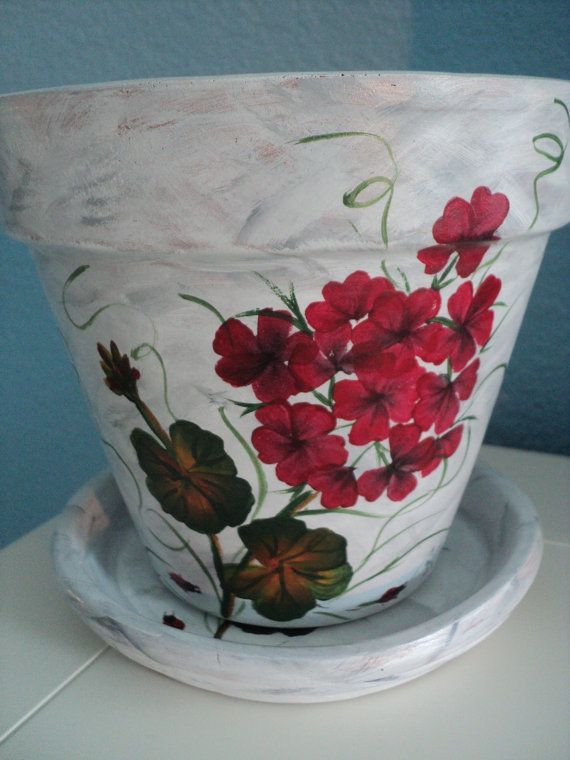 Hand painted Flower Pot & Saucer: 6 1/4 by RaindropsNRoses