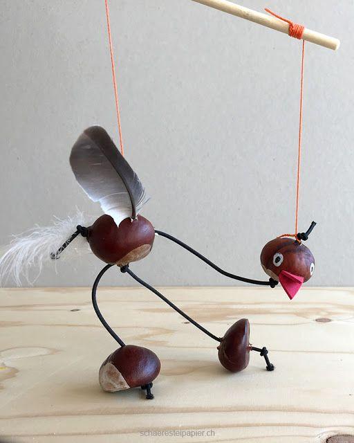 Eine Vogel-Marionette aus Rosskastanien - Basteln im Herbst