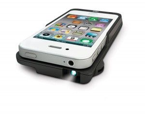 Projector Sleeve for iPhone 4/4S -- The nostalgia of a projector meets the magic of today's technology!   It's super small and as thin as your phone, so you can carry it in a pocket, purse or backpack. And it has over an hour and a half of projection time. Stream your videos on the wall, on the ceiling or on the side of a tent, so project, share and enjoy. It can even work as a back-up charger for your phone with the press of a button.