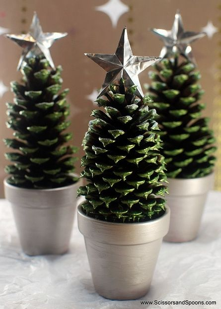 Head outside and collect some pinecones and you can make these adorable pinecone Christmas trees.