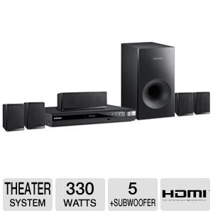 Samsung 5.1 Channel Surround Sound DVD Home Theater System by Samsung. $169.95. Samsung 5.1 Channel Surround Sound DVD Home Theater System  The Samsung Digital Home Entertainment System features a powerful 330 Watt speaker system and 5.1 channels of audio. The system is compatible with most DVD & CD formats including DVD-R, DVD-RW, CD-R, and CD-RW. Additionally, the DVD Home Theater System  is compatible with MP3, WMA, Dolby Digital, Dolby Pro Logic II, DTS audio so y...