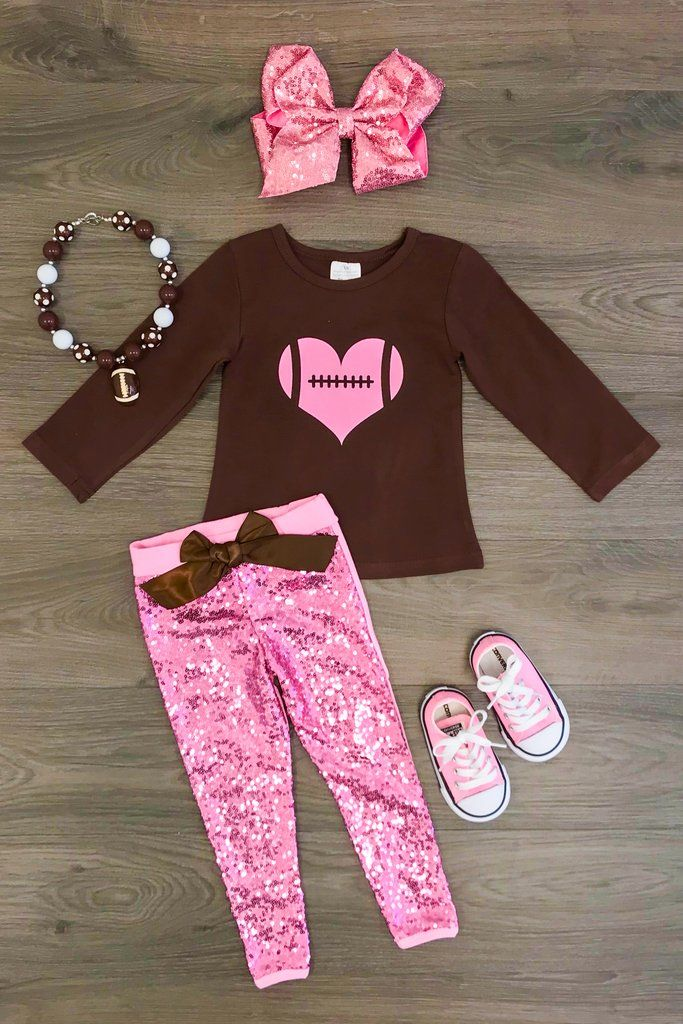 2bef79df9 Football Heart Pink Sequin Pant Set   Boutique Outfits   Designer ...