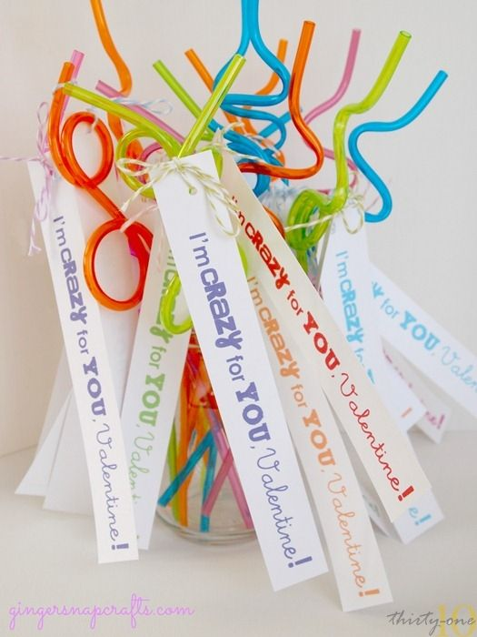 Crazy Straw Valentines with Free Printables from Ginger Snap Crafts