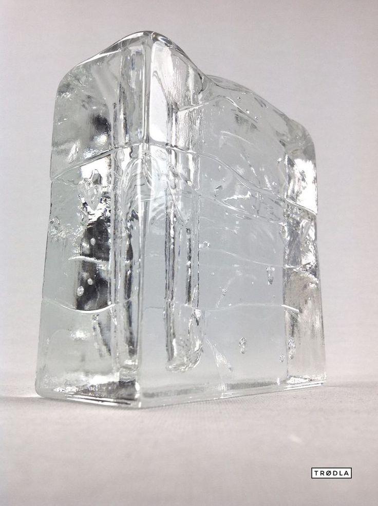 Vase aus Glas transparent eckig massiv schwer Luftblasen vintage design