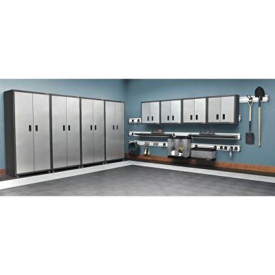 Ready To Assemble 28 In. H X 28 In. W X 12 In. D Steel Garage Wall Cabinet  In Silver Tread, Silver Tread Plate