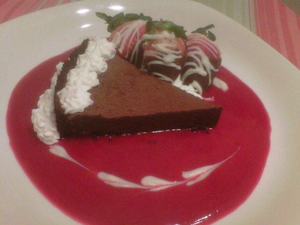 Chocolate Truffle Cake with Raspberry Coulis