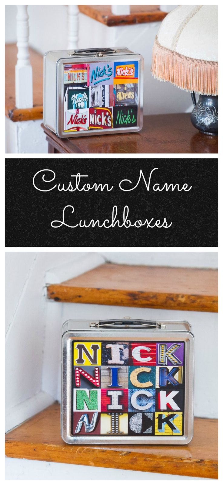 Personalized Lunch Boxes featuring ANY NAME in photos of signs & sign letters from actual signs! Kids love to show off this cool, metal lunch box in school :-)