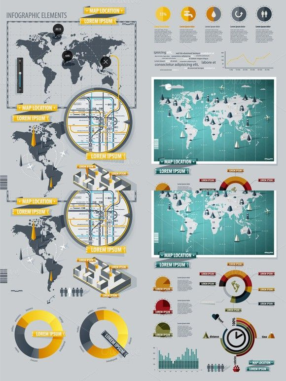 Infographic Elements with World Map. $4.00