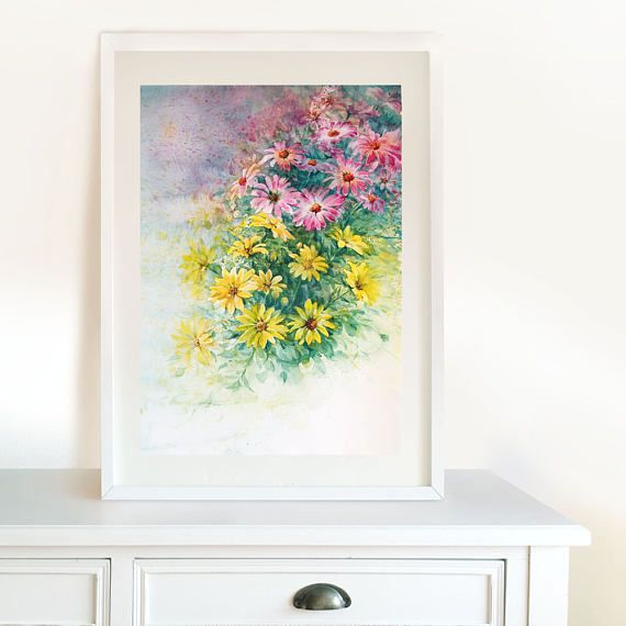 Pink and yellow daisies Original Watercolor Painting. Home