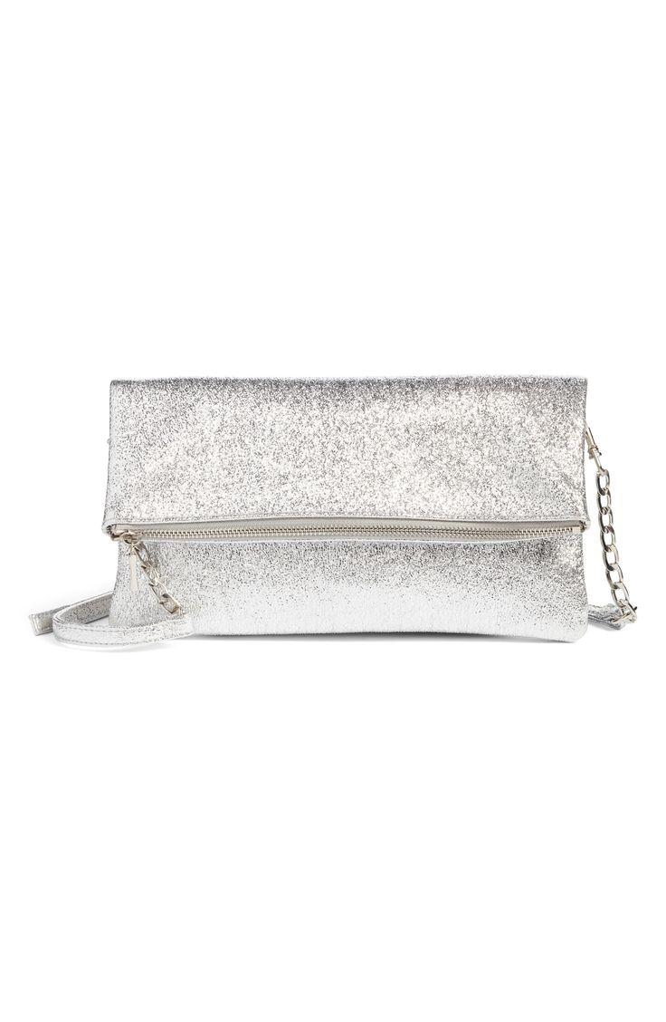Maci Crinkle Faux Leather Foldover Clutch - Sole Society #metalic #clutch #silver #handbags #affiliatelink