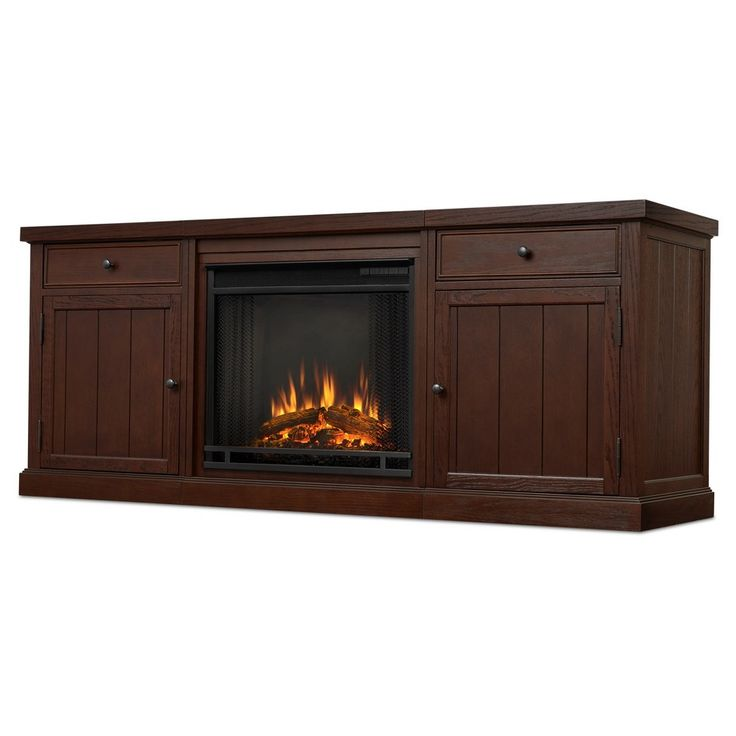 Cassidy Electric Fireplace Entertainment Center - Chestnut Oak (Brown) - Real Flame