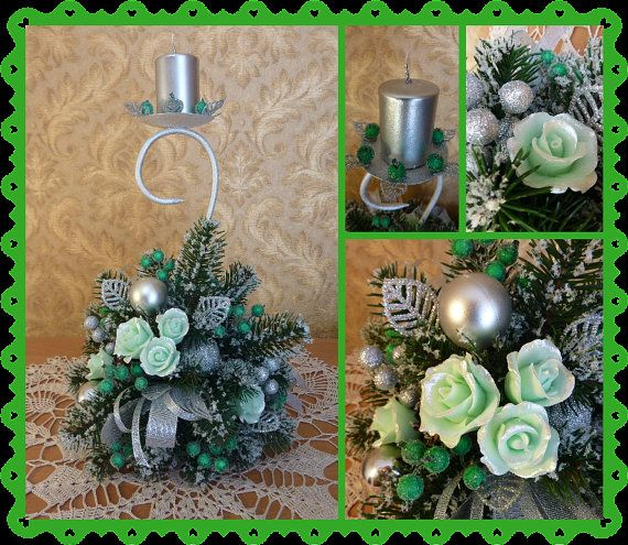 Candle holder Christmas decorChristmas by FlowerKingdomArt on Etsy