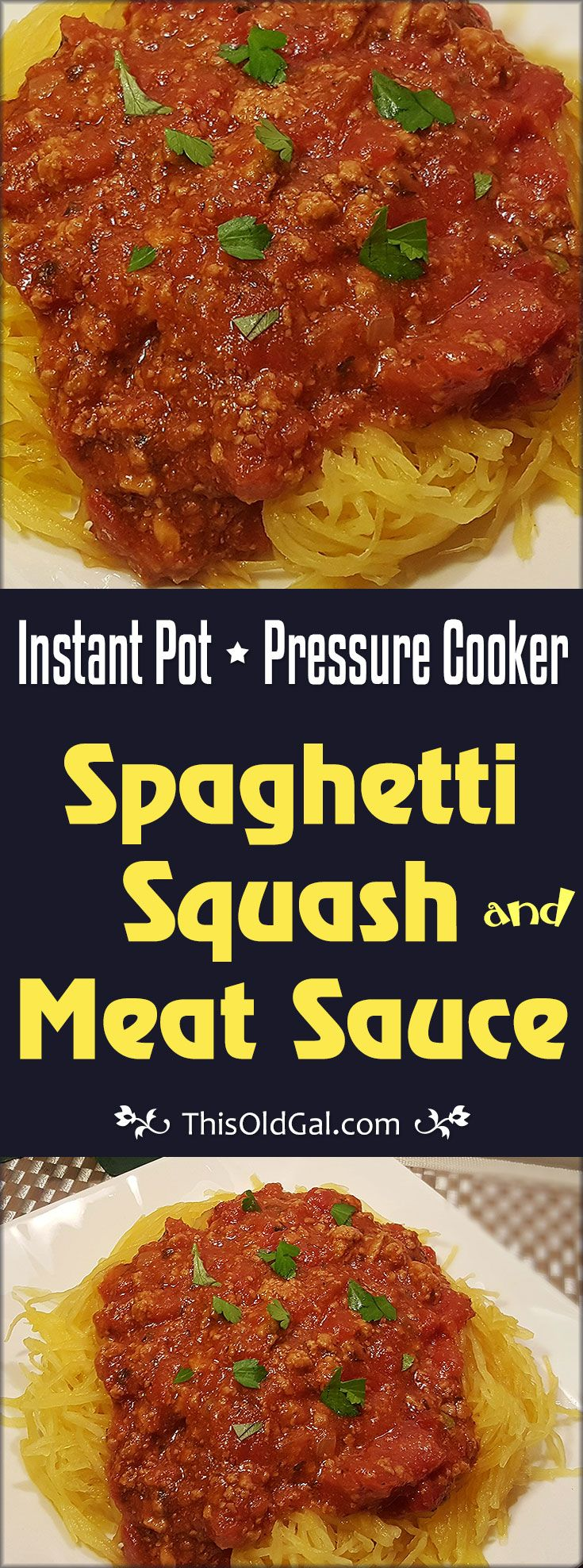 "Pressure Cooker Spaghetti Squash and Meat Sauce made totally in one pot will change your life.  Enjoy a healthy low carb, low fat, low calorie ""Spaghetti"" and Meat Sauce Dinner! via @thisoldgalcooks"