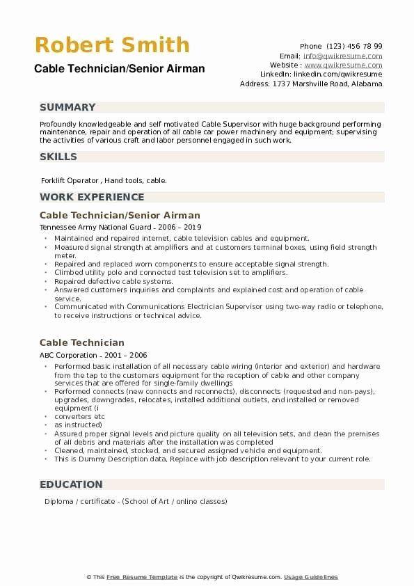 cable technician job description resume awesome cable