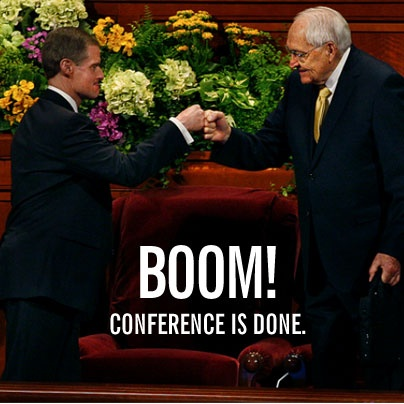 "History was made at #LDS #GeneralConference when the first recorded ""fist bump"" was photographed of Elder Bednar and Elder L. Tom Perry (via Salt Lake Tribune)."