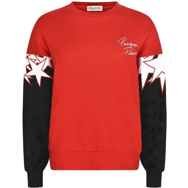 être cécile Superstar Oversized Sweatshirt (4.281.735 VND) ❤ liked on Polyvore featuring tops, hoodies, sweatshirts, red long sleeve top, red top, red sweatshirt, oversized tops and slogan sweatshirts