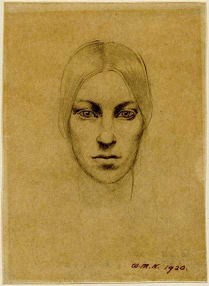 Winifred Knights, Self-portrait, 1920, Pencil on tracing paper. Winifred Knights (1899-1947) runs June 8 - September 18 2016 at Dulwich Picture Gallery.