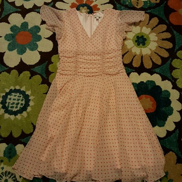 EUC Pink Hearts Eva Mendes Dress Baby Pink sheer dress with pink heart polka dots and lining almost all the way to the bottom, this is part of the Eva Mendes Collection from NY & CO. Size is listed as a 10 but this dress does run big and could easily fit a 12! Only worn once to my husband's graduation so it's in perfect condition. Has a v neck, flowy butterfly sleeves, zips up the back and hits right below the knee. Please feel free to ask questions!  ***Accepting all reasonable offers:) New…
