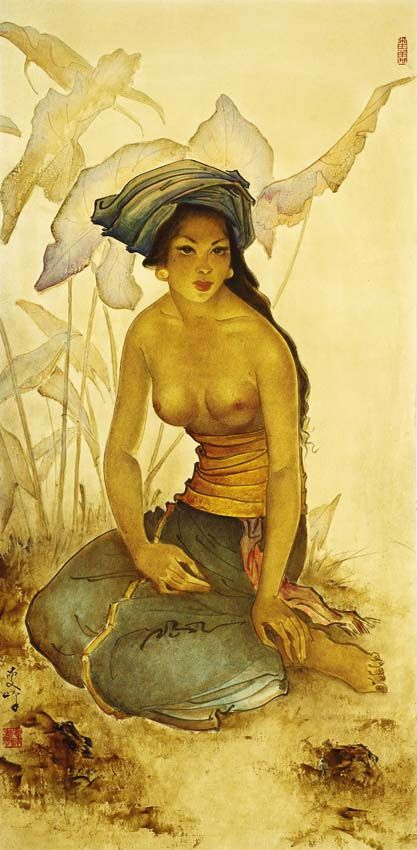 Lee man Fong (Canton, China 1913 – Singapore 1988) - Seated Lady Half Nude.