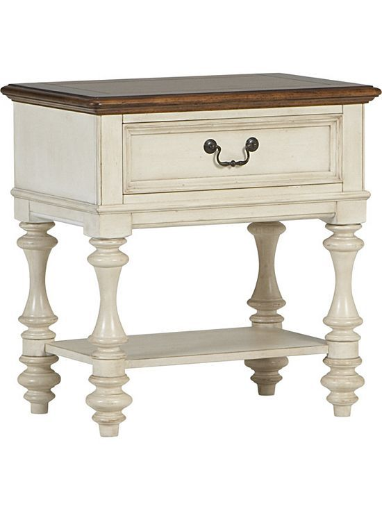 bedrooms, southport open nightstand - distressed white