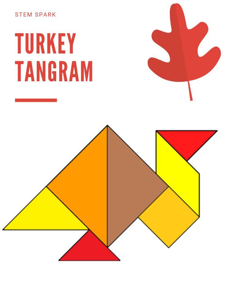 free turkey tangram for thanksgiving  thanksgiving stem
