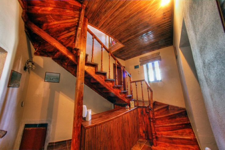 The hotel's inner wooden stair
