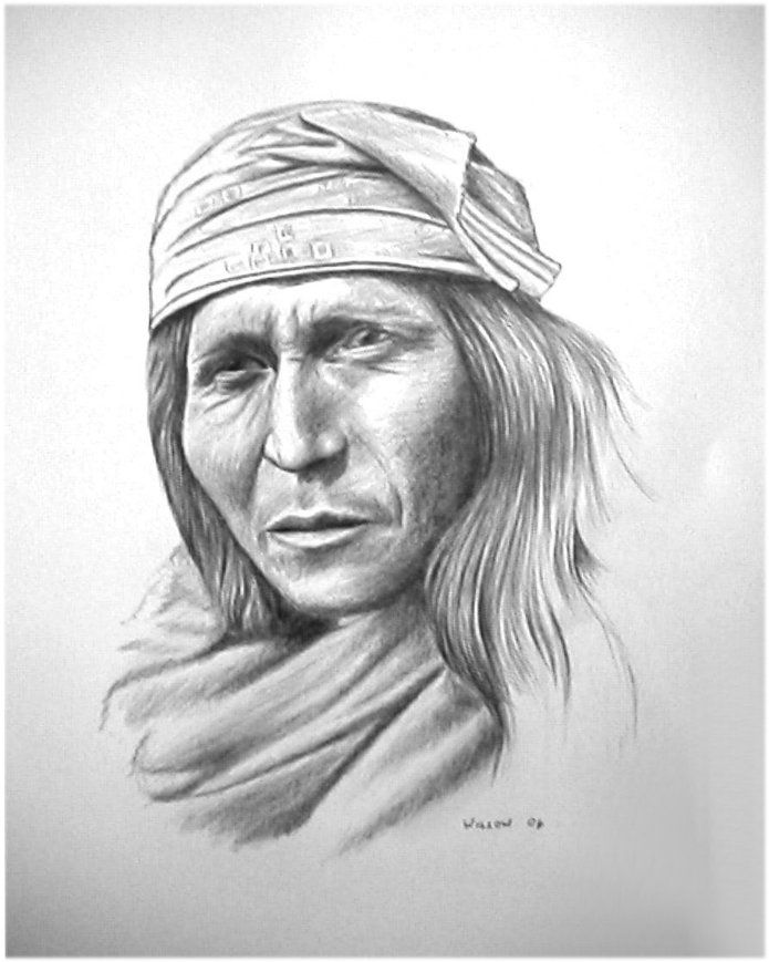 Pencil drawing of a native American, Apache Apache ...