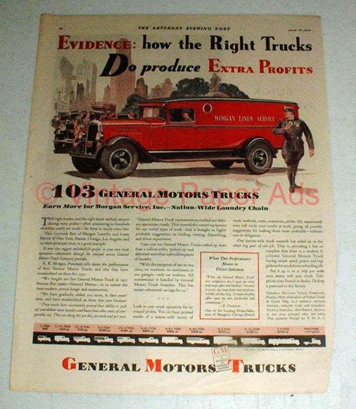 1931 General Motors Truck Ad - Morgan Linen Service