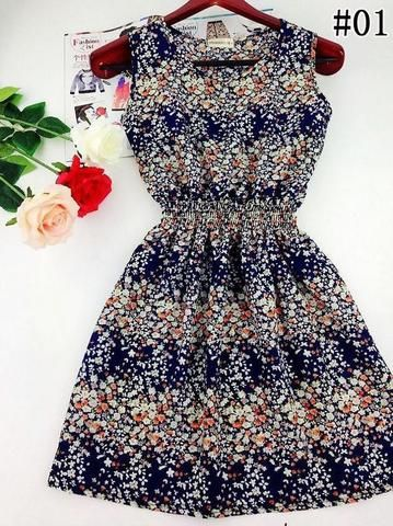Floral Beach Dress (Dark Blue) - Medium