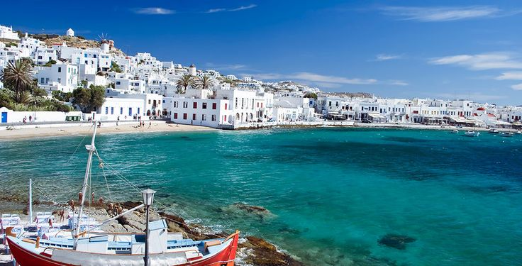 The island of Mykonos is renowned for its cosmopolitan nightlife, chic beachfront bars, and pretty villages showcasing typical Greek architecture. The famous whitewashed windmills, the trademark of the island, stand on a hill overlooking the city, from where one can enjoy a magnificent view over Little Venice - home to numerous trendy cafes and bars.