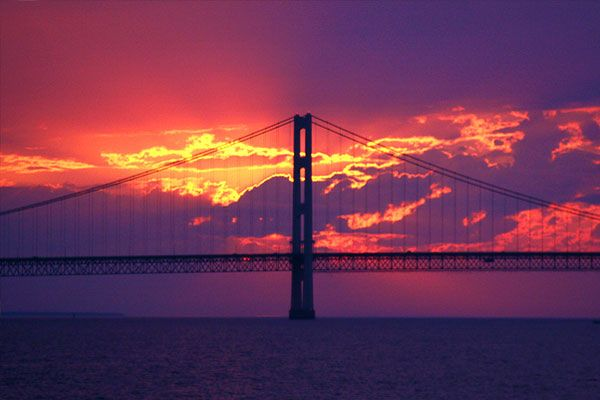 Mackinac Island Bridge.   3rd longest suspension bridge in the world.    Walked it Labor Day, 2013