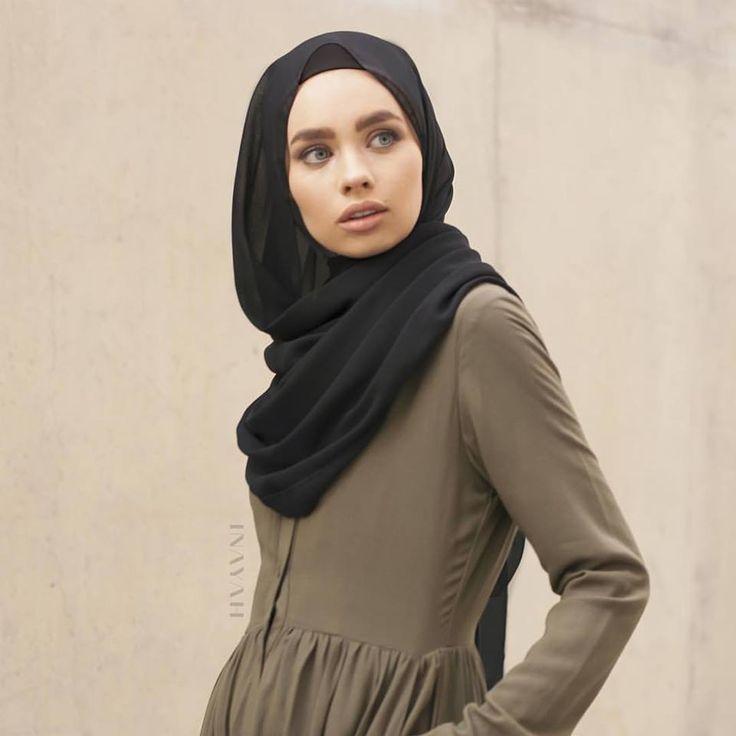 INAYAH | Black Georgette #Hijab +Khaki Cotton Shirt #Abaya www.inayahcollection.com