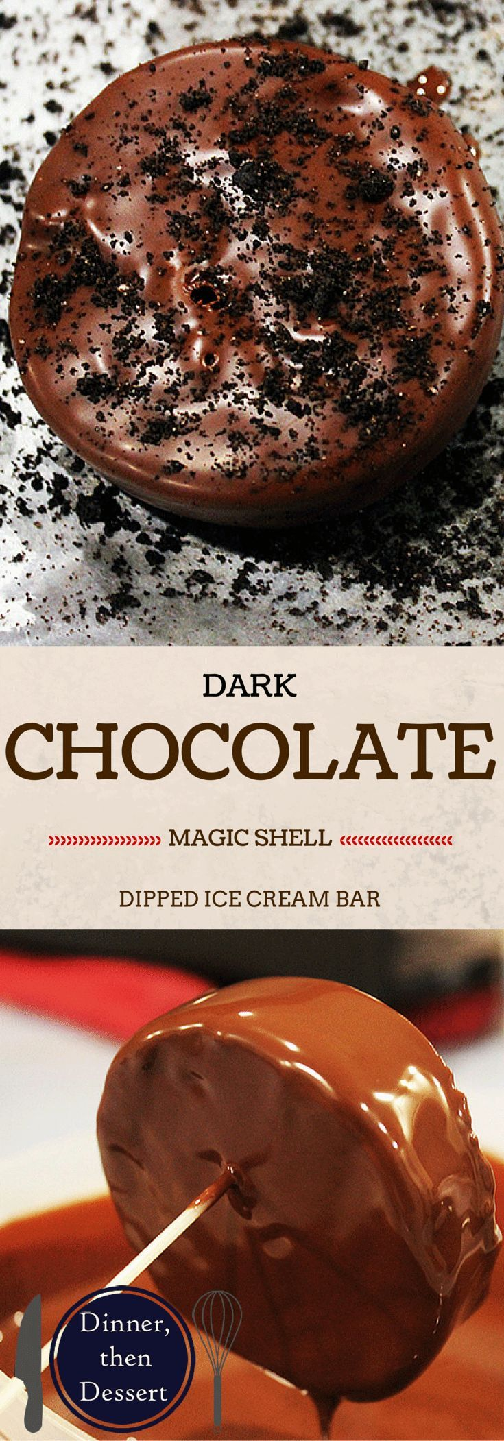 A take on the iconic Klondike Ice Cream Bar. Dark Chocolate Ice Cream dipped in Bittersweet Chocolate Magic Shell!