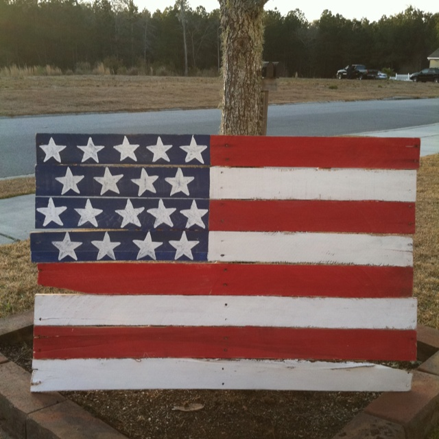 Wood pallet rustic american flag made by me pinterest - American flag pallet art ...
