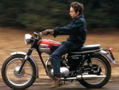 Dylan and his 1964 Triumph Tiger 100.  Sure, he almost had a career-ending crash, but he looked awesome doing it...