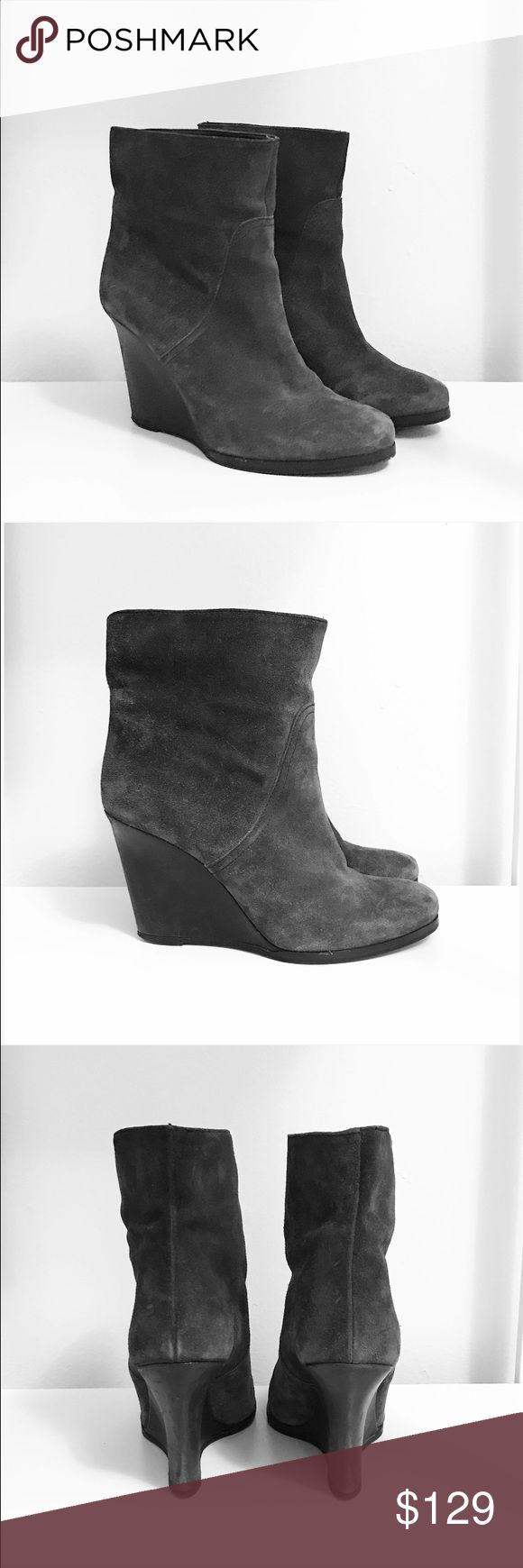 "BOSS Orange Hugo Boss Grey Suede Wedge Booties Suede upper, leather lining, 3.5"" wedge heel BOSS ORANGE Shoes Ankle Boots & Booties"