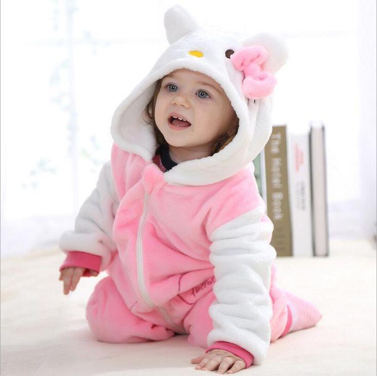 Baby rompers 2016 boys sleepwear girls newborn clothes Hello kitty Cartoon Jumpsuit Pajamas warm cute animal macacao bebe YJY11