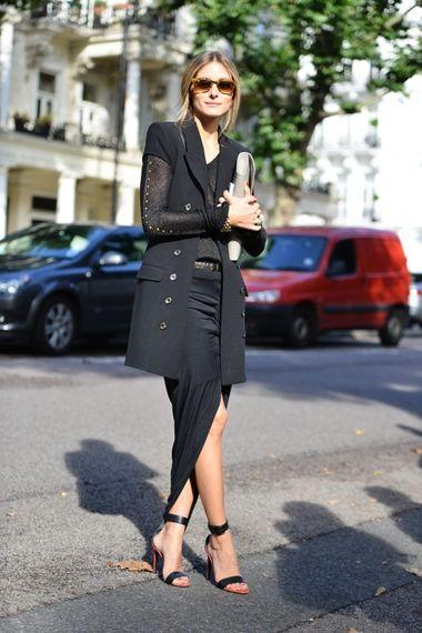 Olivia Palermo all black ensemble. Love the oversized black blazer and asymmetrical skirt