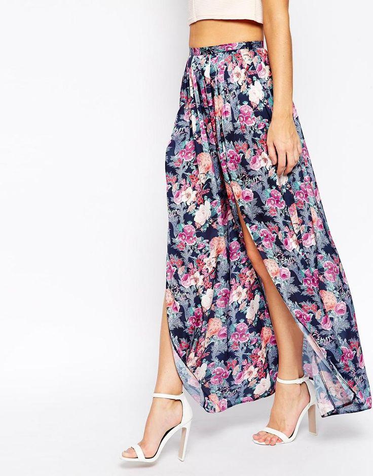 Image 4 - ASOS - Jupe longue fendue à imprimé floral
