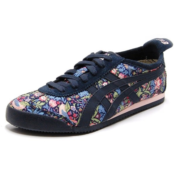 ASICS ONITSUKA TIGER Womens MEXICO 66 Shoes in Strawberry Thief / Mid Night Blue