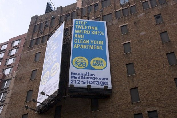manhattan mini storage sign stop tweeting weird sh and clean your