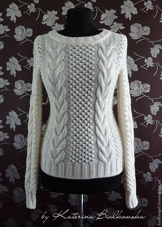 """Купить Свитер """"Isabel"""" - белый, свитер с косами, ажурный свитер, стильный свитер, модный свитер"""