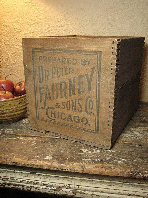 Early Old Antique `Dr. Peter Fahrney's Blood Vitalizer' Dovetailed Wooden Advertising Crate Box - Chicago