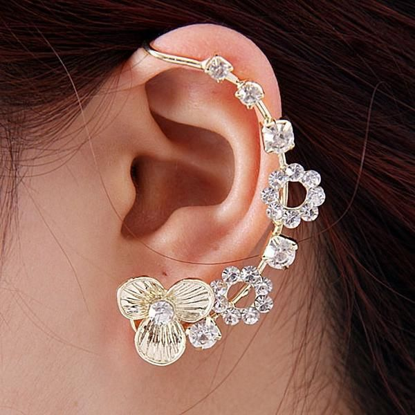 Silver crystals gold plated earcuff - cooliyo.com