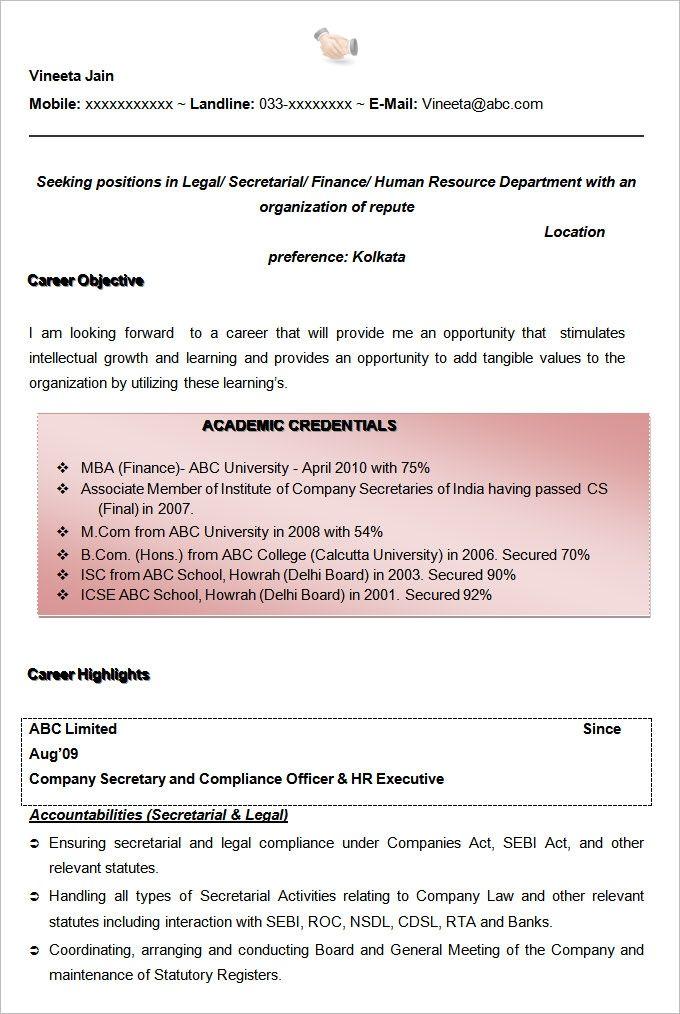 Free Sample Of Executive Secretary Resume Sample Resume Templates Resume Template Free Cover Letter For Resume
